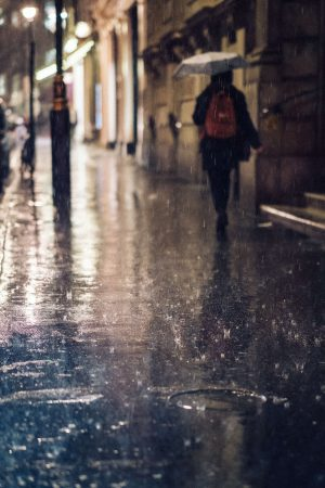 Artist Paints Of People Walking In The Rain